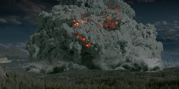 An artist's depiction of a super-volcanic eruption, (eden.uktv.co.uk)