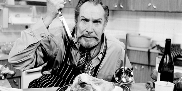 "An image of Vincent Price ""cooking"" some meat. (www.cookingvincent.com)"