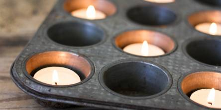 Votive Candles in Muffin Tin