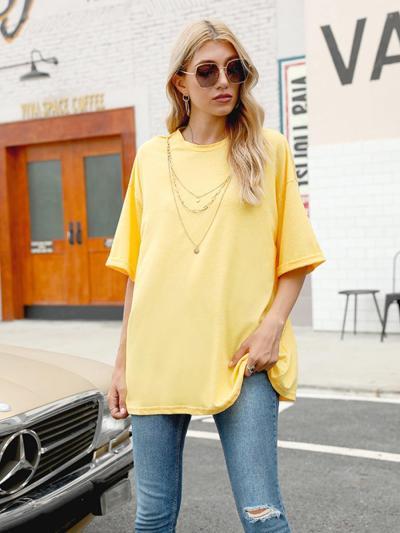 shestar wholesale half sleeve loose yellow t-shirt