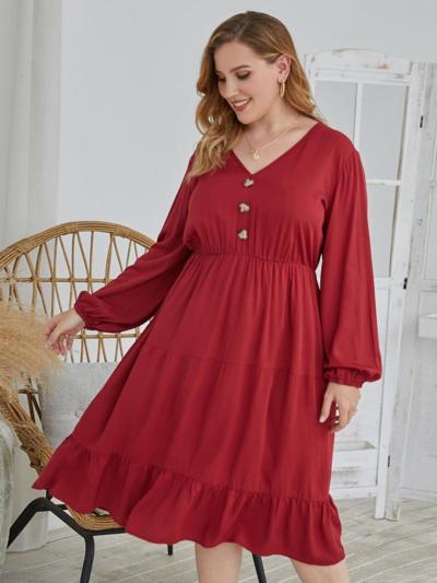 shestar wholesale plus size ruffle hem plain dress