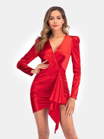 shestar wholesale sexy v-collar plain shirred party dress
