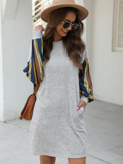 shestar wholesale vertical striped sleeve pocket dress