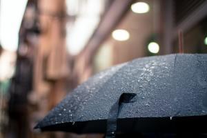 An umbrella in the rain.