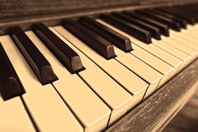 Closeup of piano keys.