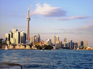 The Toronto skyline as seen from a boat.