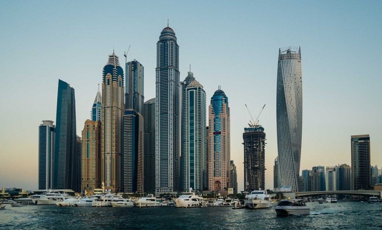 Buildings in Dubai as an example of Architecture of the Middle East.