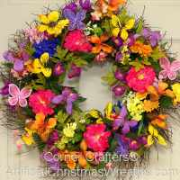 SPRING BUTTERFLY WREATH | ArtificialChristmasWreaths.com ...
