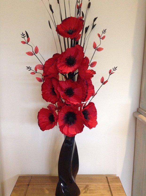 Red artificial flowers home design ideas red poppy artificial flower arrangements mightylinksfo