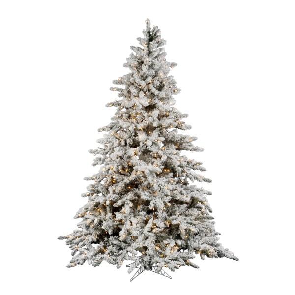 10 Foot Flocked Utica Fir Christmas Tree Clear Lights A895186
