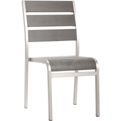 Brushed Aluminum Chairs Beach Chair Rental Isle Of Palms Zuo Outdoor Township Dining Armless Set 2