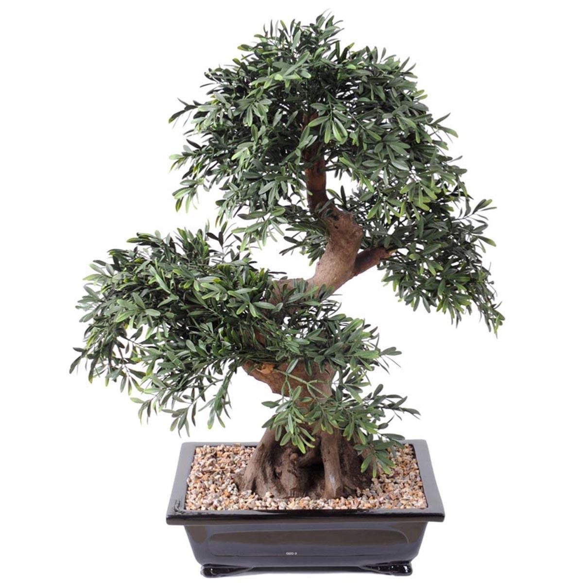 bonsai saule noir artificiel h 70 cm d 60 cm en pot