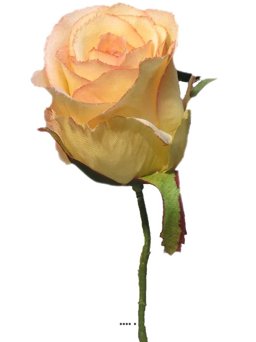 tete de rose artificielle d 5 cm sur tige ideale mariage rose creme