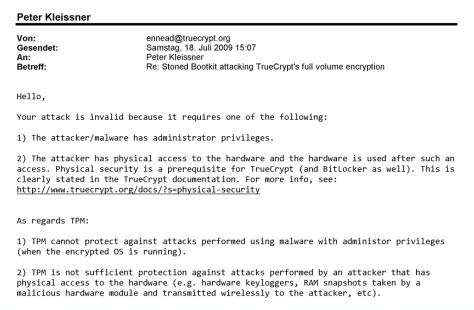 TrueCrypt Foundation Mail 18. Juli 2009