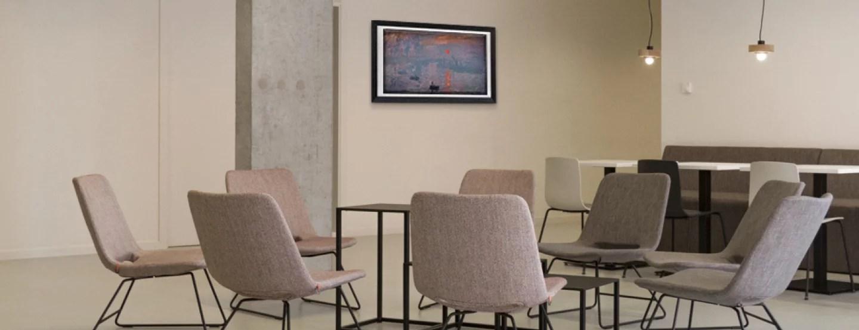Artify - Espace de détente avec un tableau d'art connecté en entreprise