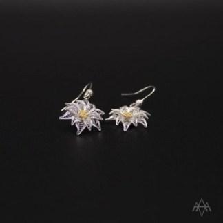 Orecchini pendenti in filigrana d'argento raffigurante un fiore di stella alpina
