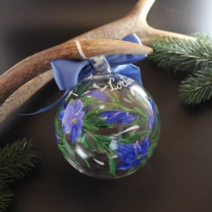 Addobbo natalizio in vetro dipinto a mano Ø 10 cm disegni vari