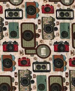 Tissu aux motifs d'appreils photos antiques sur fond beige - Artigina