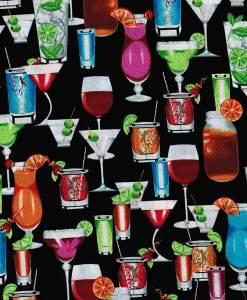 Tissu aux motifs de cocktails sur fond noir - Artigina