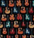 Tissu aux motifs de guitares sur fond noir - Artigina