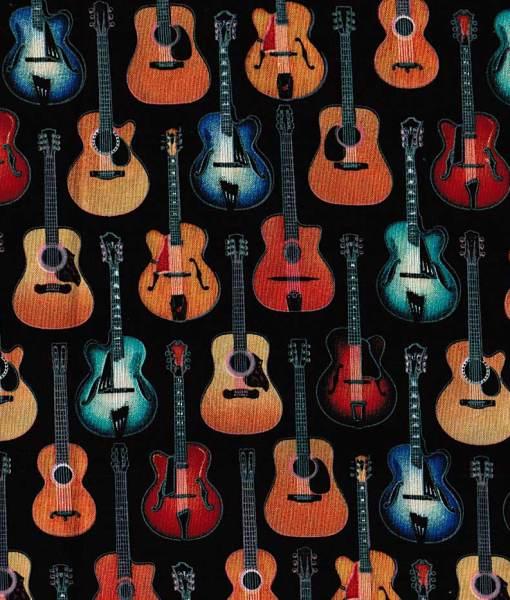 Tissu aux motifs de guitares sur fond noir – Artigina