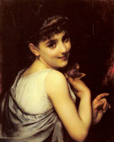 A Young Beauty Holding A Red Rose by Etienne Adolphe Piot