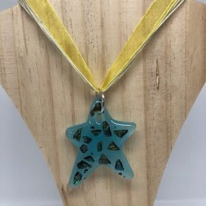Blue Star Pendant with Dichroic inserts