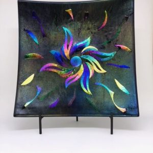 Fused Glass Dichroic Glass in Pinwheel Design