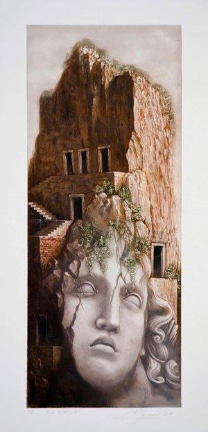 """Emilio Baracco, """"Isola metafisica""""  maniera a matita, acquatinta, 2011"""