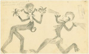 Graphic Works of Southeast Asia and Melanesia, Hugo A. Bernatzik Collection 1932-1937, Pirinisau, shaman, two fighting spirits of the riff, Santa Ana island, Solomon Islands (Melanesia), 1933, Courtesy Doris Byer © Doris Byer
