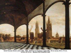 Veduta di Delft da una loggia immaginaria, 1663. Delft, Stedelijk Museum het Prinsenhof Collection of the Cultural Heritage