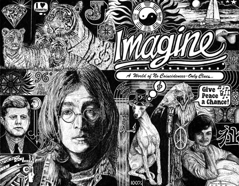 detailed drawing of John Lennon