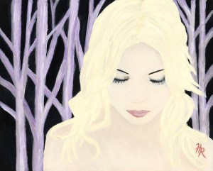 Painting of a blond lady in front of birch trees