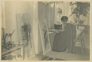 Nasreen at her studio in Bombay at the Bhulabhai Desai Institute Dated 2 Nov 1960 Photograph 4.2 x 6.2 in.   Courtsey: Sikander and Hydari Collection