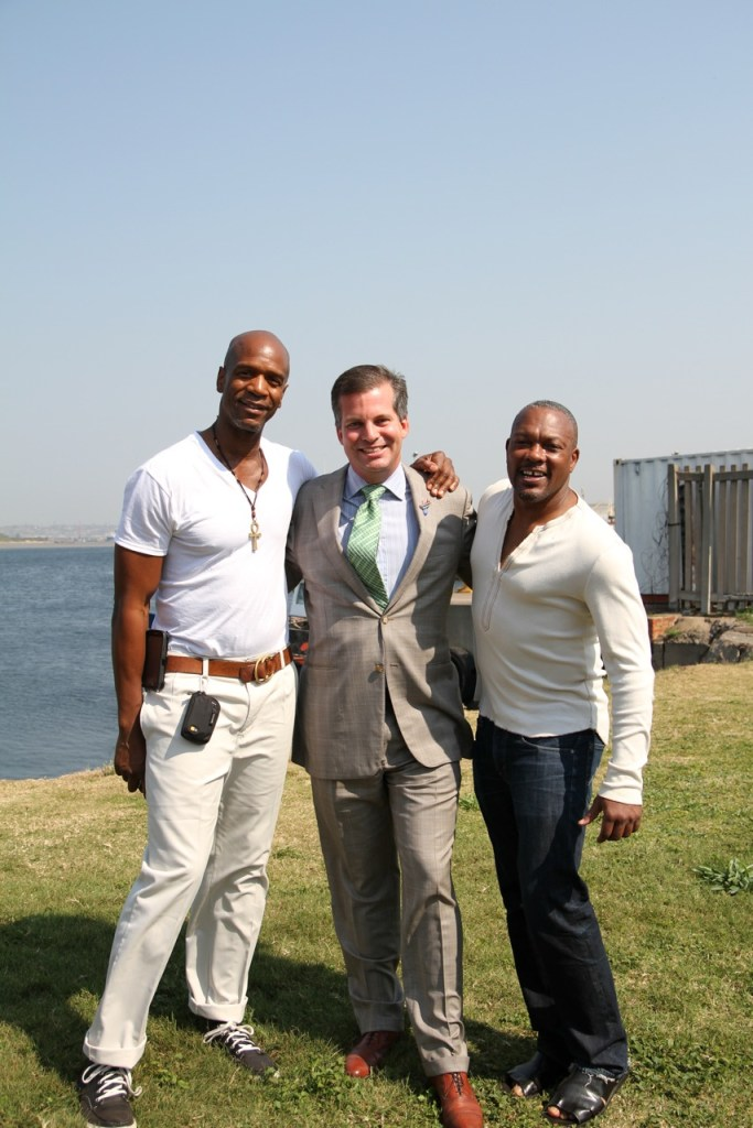 Deeply Rooted Dance Theater Artistic Director/Co-Founder Kevin Iega Jeff, U.S. Consul General in Durban Taylor Ruggles, Deeply Rooted Dance Theater Associate Artistic Director/Co-Founder Gary Abbott. Photo by Julie E. Ballard