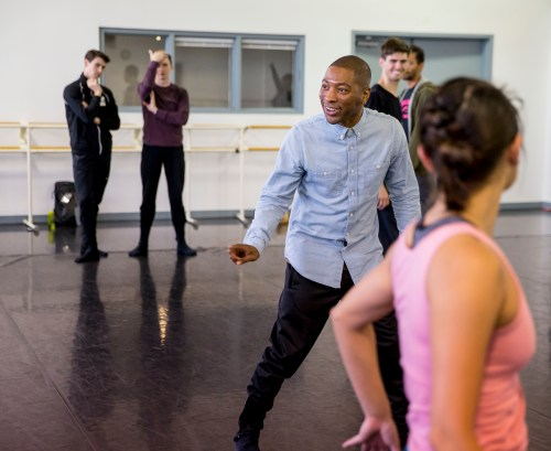Hubbard Street Dancers in rehearsal with Kyle Abraham, center | photo by Todd Rosenberg
