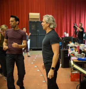 Todd Rhoades (Ensemble) and Choreographer Alex Sanchez in rehearsal for Wonderful Town, a musical by Leonard Bernstein, librettists Joseph A. Fields and Jerome Chodorov and lyricists Betty Comden and Adolph Green. Directed by Manilow Resident Director Mary Zimmerman at Goodman Theatre