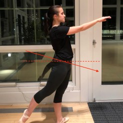 Tucking under with the glutes limits range of motion in arabesque