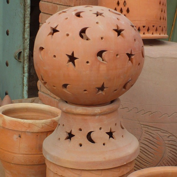 Lamp Terracotta for garden Moroccan Pottery of Marrakesh