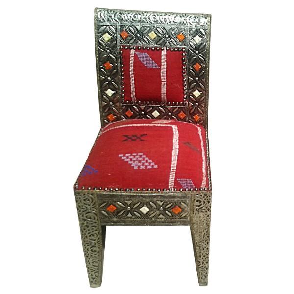 Chaise marocaine en mtal et kilim Artisanat marocain