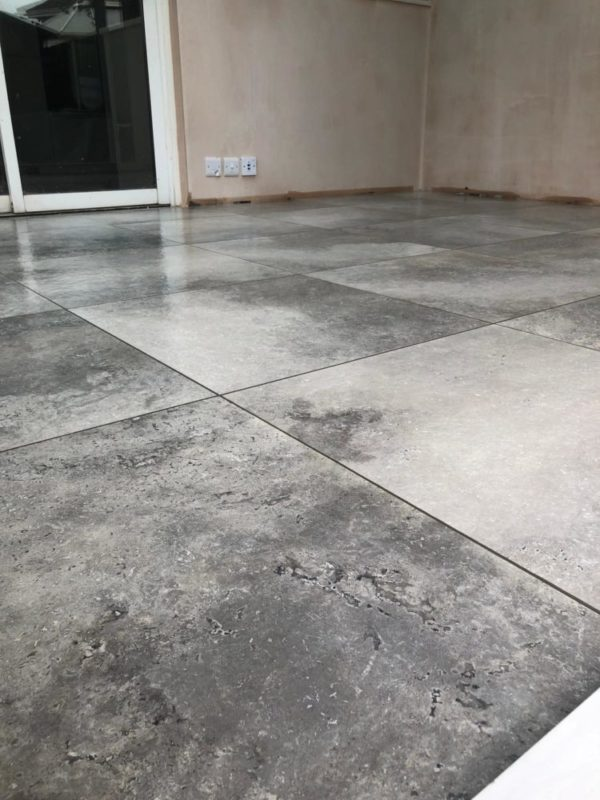 conservatory flooring in grey tiles