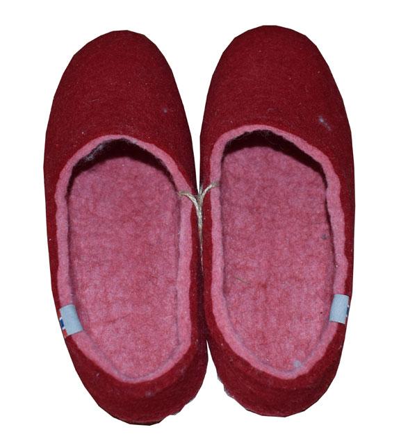 chausson rouge laine