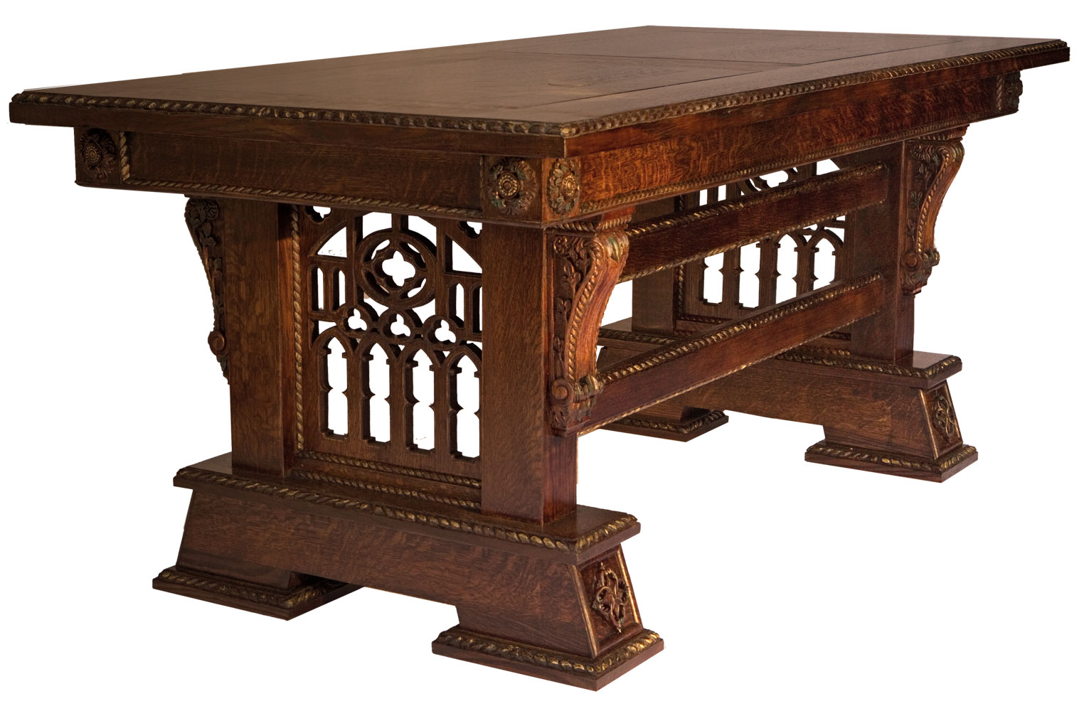 custom made hand carved new wave gothic desk library table by artisans of