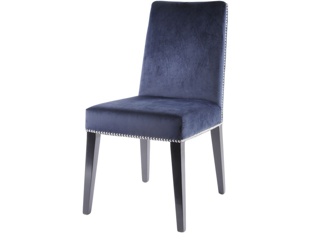 navy blue dining chair  dark blue dining chair with rivets
