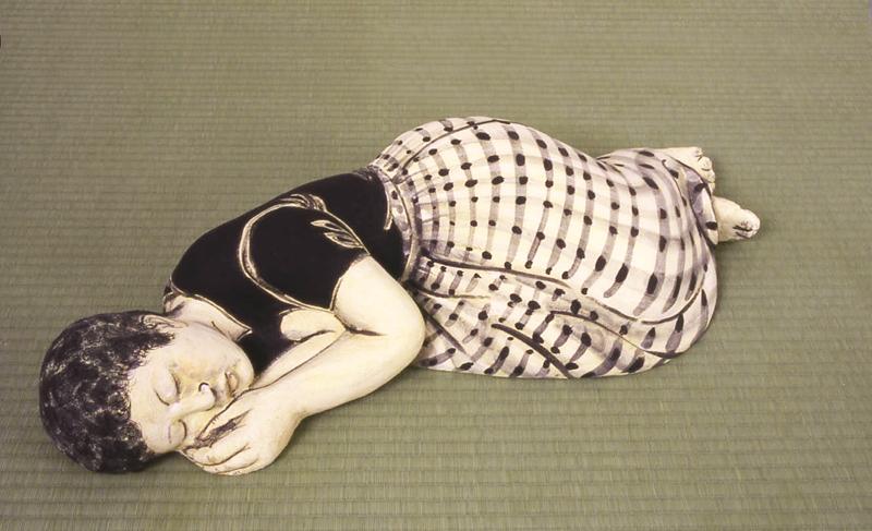 Akio_Takamori_Sleeping_Woman_in_Checked_Skirt_2003_442_88