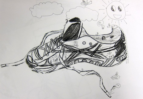Contour Line Drawing Art : Contour line shoe drawings by 3rd and 4th graders u2013 art is basic