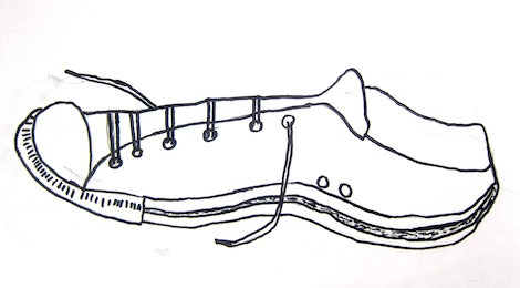 Contour shoe drawings by 3rd graders