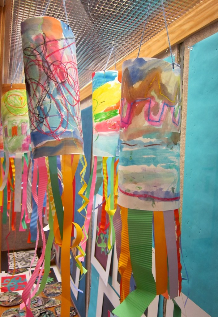 Line windsocks for kindergarten art is basic an for Painting projects