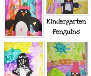 Penguin Collage Paintings with Kindergarteners