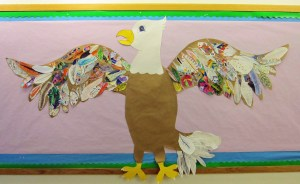 Group Eagle Bulletin Board with Patterned Feathers
